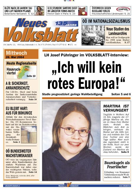 Propagandaartikel im 'Volksblatt'